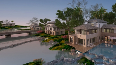 architecture design: Photorealistic render of the buildings in the open air.
