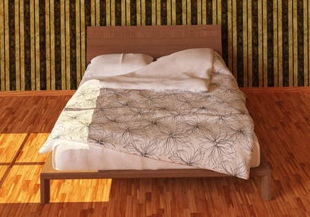 pillows: Bed with pillows and a blanket photorealistic render Stock Photo