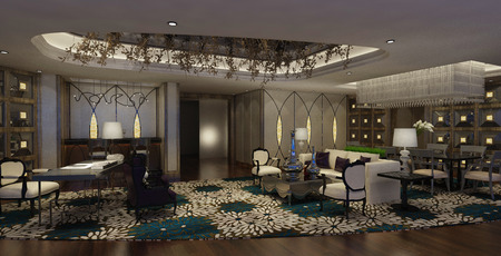 suite: Photorealistic 3d rendering of the hotel lobby interior Stock Photo