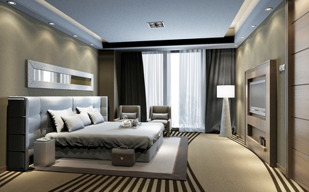 Photorealistic 3d rendering of the hotel room interior