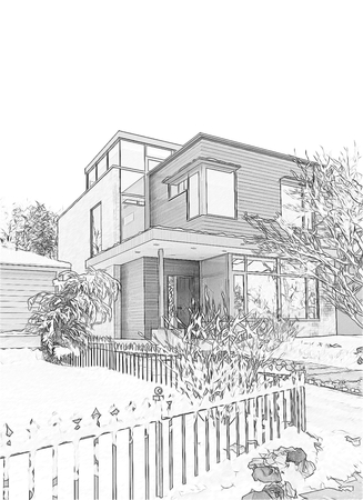 open air: Imitation Black and white drawing of the home in the open air. Stock Photo