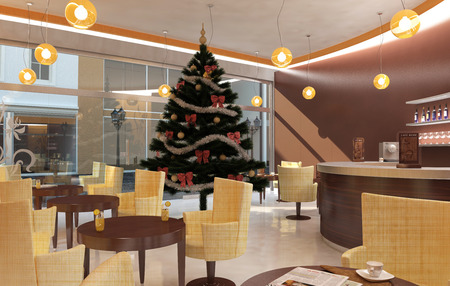 interior decoration: Cafe Christmas Interior with decorated Christmas tree Stock Photo