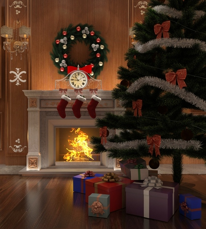 victorian fireplace: Christmas interior decorated with a christmas tree and gifts