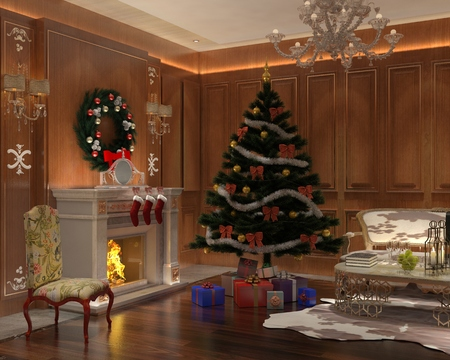 fireplace: Christmas interior decorated with a christmas tree and gifts