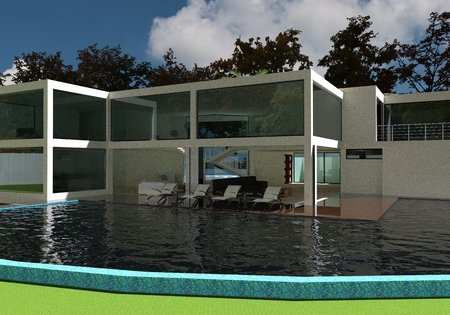 homes exterior: 3D render of the modern house in the open air. Stock Photo