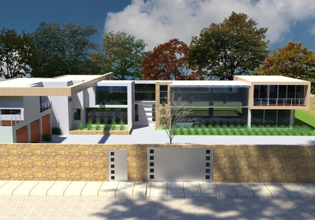 case moderne: 3D rendering di casa moderna a cielo aperto.