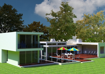 render: 3D render of the modern house in the open air. Stock Photo