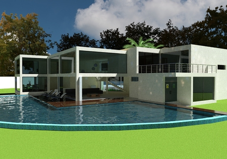 open air: 3D render of the modern house in the open air. Stock Photo