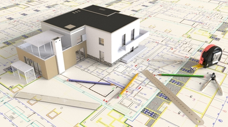 3D rendering of the house architectural drawing and layout