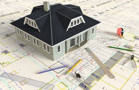 architectural rendering: 3D rendering of the house architectural drawing and layout