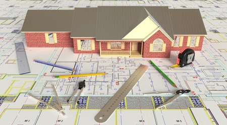 architectural rendering: Rendering of the house architectural drawing and layout