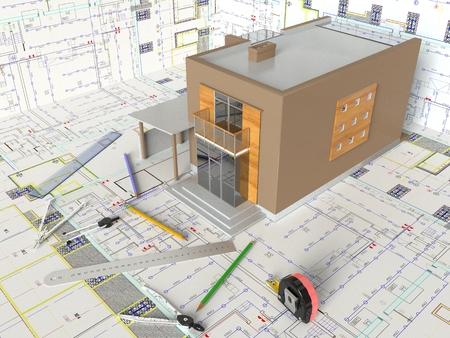 Rendu du dessin architectural et de l'aménagement de la maison