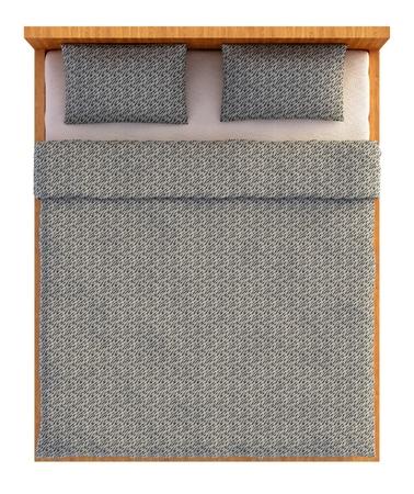 letti: Vista dall'alto di un letto con una coperta e un cuscino isolato su bianco.