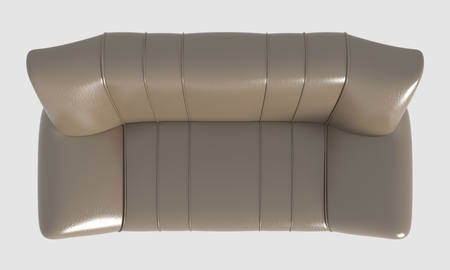 white sofa: 3D Rendering Sofa Top View Isolated On White Stock Photo