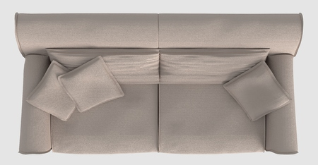 3D Rendering Sofa Top View Isolated On White Stock Photo