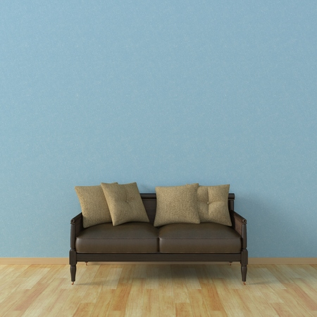 livingroom: 3d Illustration of a sofa against the background of the wall