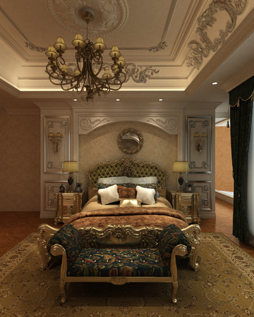 3D rendering bedroom Interior of a classic style Stock Photo