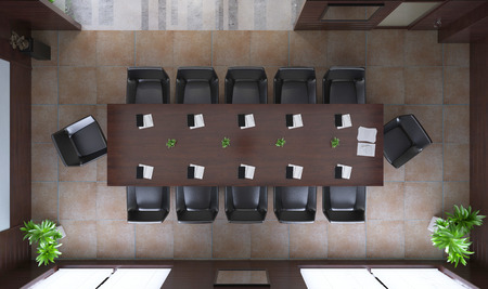 3D llustration rendering modern office top view 版權商用圖片