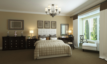 luxury homes: 3D illustration bedroom Interior of a classic style Stock Photo