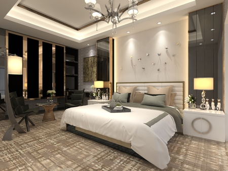 luxury condo: 3D illustration bedroom Interior of a classic style Stock Photo