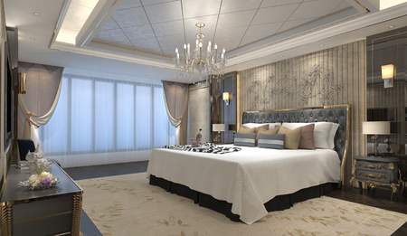 luxury hotel room: 3D illustration bedroom Interior of a classic style Stock Photo