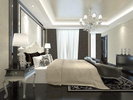 3D illustration bedroom Interior of a classic style Stock Photo