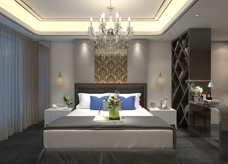 luxury hotel room: 3D illustration bedroom Interior of a modern style Stock Photo