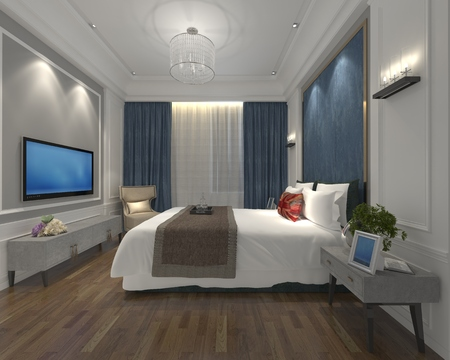 3D illustration bedroom Interior of a modern style Stock Photo