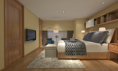 luxury homes: 3D illustration bedroom Interior of a modern style Stock Photo