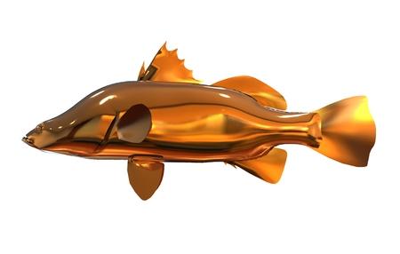 golden fish: 3D illustration golden fish isolated on white background