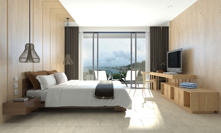 luxury condo: 3D illustration bedroom Interior of a modern style Stock Photo