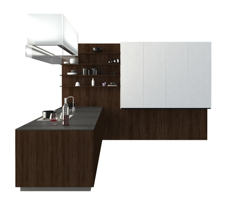 furniture isolated: 3D Illustration kitchen furniture isolated on white Stock Photo