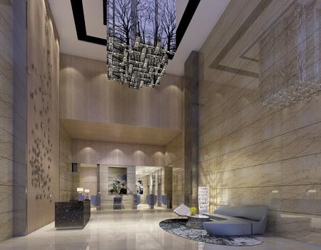Interior of hotel reception hall 3D illustration Standard-Bild