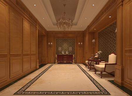 Interior of hotel reception hall 3D illustration Stock Photo