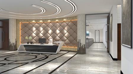 Interior of hotel reception hall 3D illustration Stock Illustration - 79055821