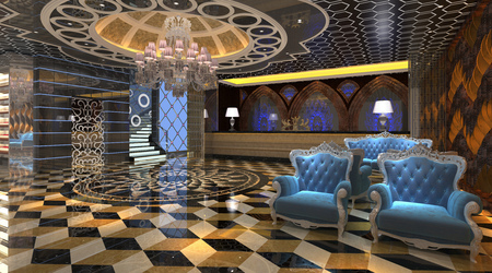 Interior of hotel reception hall 3D illustration Stock Photo