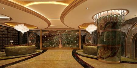 Interior of hotel reception hall 3D illustration Stock Illustration - 79055823
