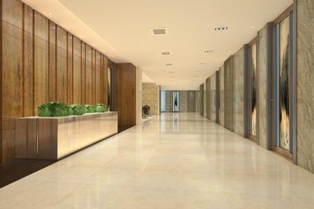 Interior Modern Hotel Corridor 3D Illustration Stock Illustration - 79607040