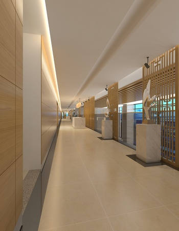 Interior Modern Hotel Corridor 3D Illustration