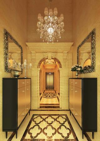 Interior Modern Hotel Corridor 3D Illustration