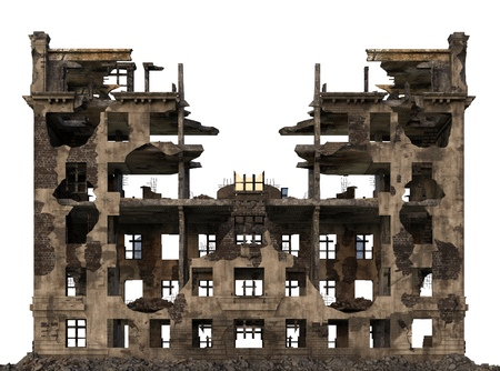 Ruined Building Isolated On White 3D Illustration Zdjęcie Seryjne - 87019982