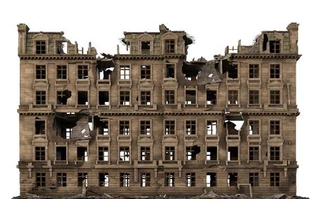 Edificio arruinado aislado en blanco Ilustración 3D Foto de archivo - 87019984
