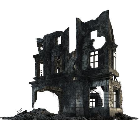 白い 3 D イラストを分離した廃墟