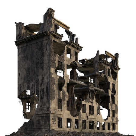 Ruined Building Isolated On White 3D Illustration Zdjęcie Seryjne - 87303453