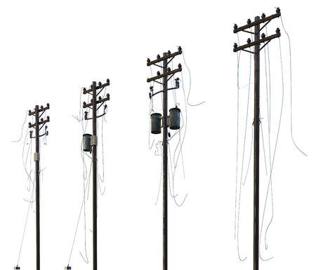 3D illustration wooden poles of power lines isolated on white.