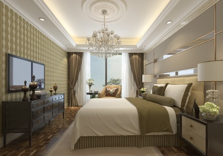 bedroom interior in modern style 3d illustration