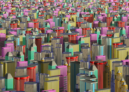 Multicolored skyscrapers and office buildings in the center of the metropolis 3d illustration Stok Fotoğraf - 106499861