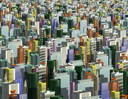 Multicolored skyscrapers and office buildings in the center of the metropolis 3d illustration Stok Fotoğraf - 106499864