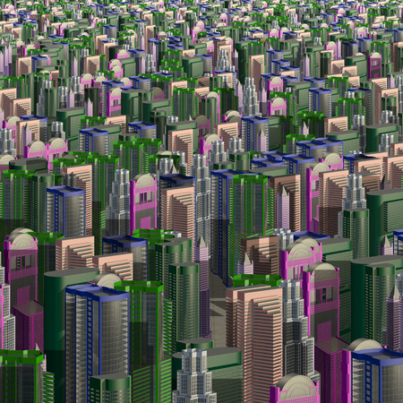 Multicolored skyscrapers and office buildings in the center of the metropolis 3d illustration Stok Fotoğraf