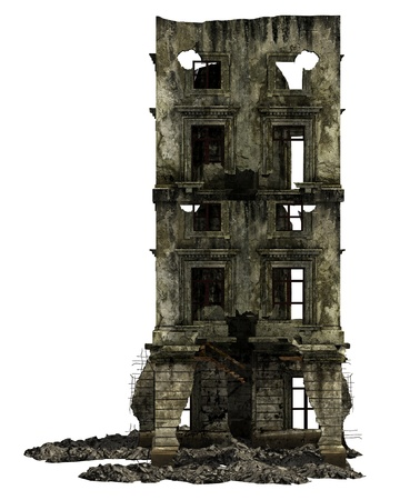 Bâtiment en ruine isolé sur blanc Illustration 3D Banque d'images